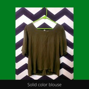 high/low 100% silk button-back blouse